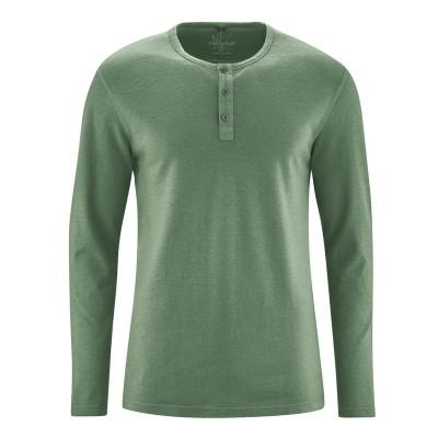 e99db1ab7435 t-shirt manches longues col tunisien en fibres de chanvre et coton bio vert