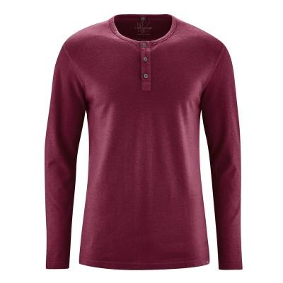 t-shirt manches longues col tunisien en fibres de chanvre et coton bio bordeaux