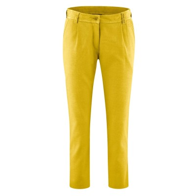 Pantalon 7/8 en coton bio et chanvre curry