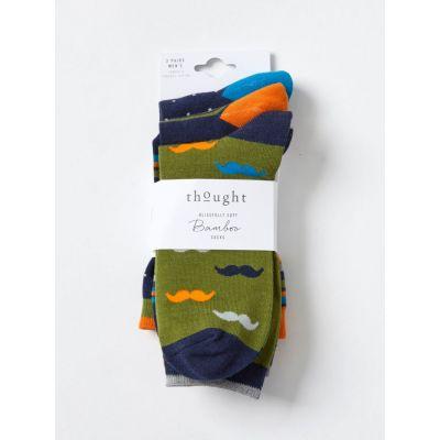 Pack 3 paires de chaussettes en bambou pour homme moustaches, rayures et pois