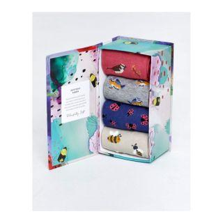 Coffret carton de 4 paires chaussettes bambou pour femme, couleur: grise, rose, bleue, jaune