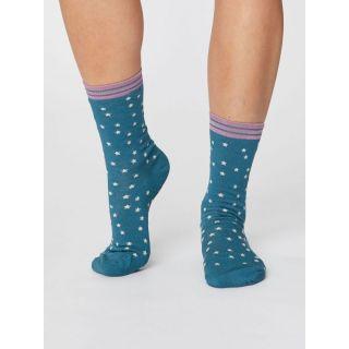Chaussettes en bambou bleues pour femme avec des étoiles
