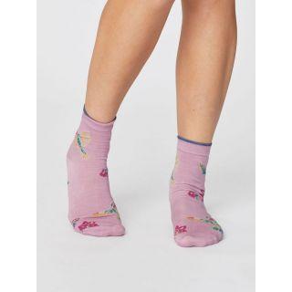 Chaussettes été modal rose avec motif colibri