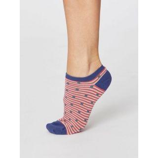 Socquettes femme bio et équitables, fibres de bambou et coton bio avec motifs rayures rose foncées