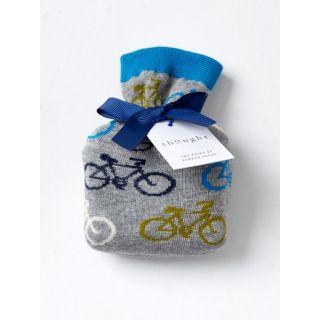 Chaussettes grises avec sac de rangement imprimé vélos