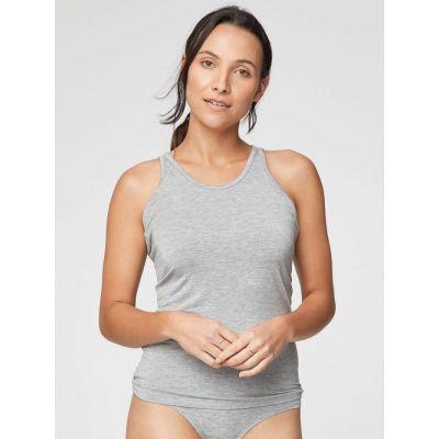 Haut maillot de corps gris femme pour la détente, bambou et coton bio