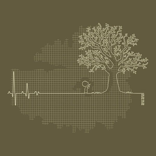 060d501019895 Tee-shirt Homme coton Bio kaki imprimé motif ligne de vie