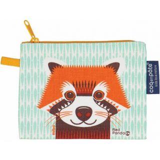 Porte monnaie panda roux en coton bio