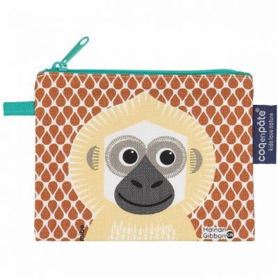 Porte monnaie gibbon en coton bio recto