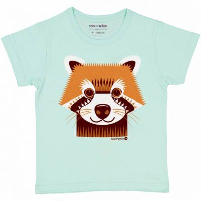 T-shirt coton bio panda roux face