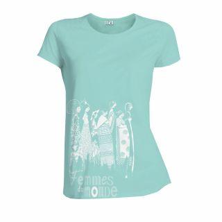 """T-shirt coton bio """"femmes du monde"""" bleu caraïbes"""""""