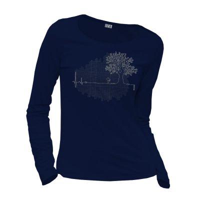 Tee-shirt marine manches longues coton bio et équitable Ligne de vie