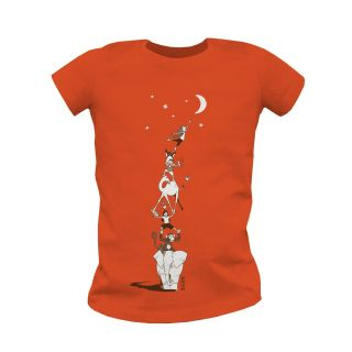 "T-shirt Bio Enfant orange ""décrocher la lune"" face"