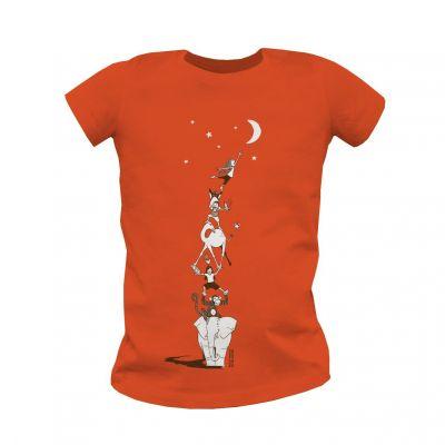"""T-shirt Bio Enfant orange """"décrocher la lune"""" face"""