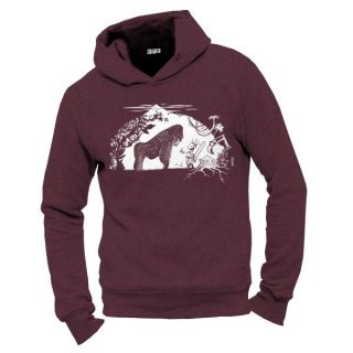 "Sweat capuche homme coton biologique ""Gare au gorille"" rouge-raisin-face"