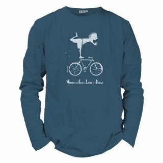 Tee-shirt manches longues coton bio Vélo bleu