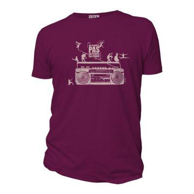 """Tee-shirt Bio Homme """"on n'arrête pas un peuple qui danse"""" pourpre"""