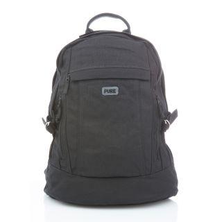Grand sac à dos noir de la marque Pure avec grand compartiment de rangement