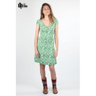 Robe été Bio imprimée feuilles en chanvre et coton bio avec bottines