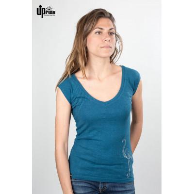 motif flamant du T-shirt en chanvre et coton bio