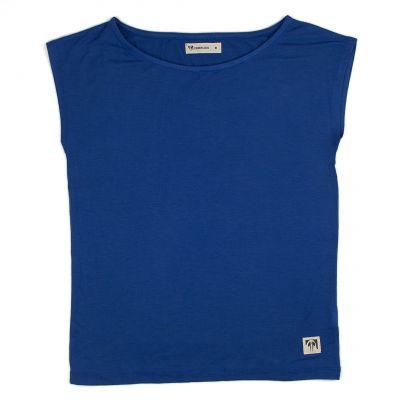 Tee shirt bleu sans manche en bambou