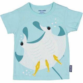 T-shirt coton bio et écoresponsable bleu raie manta
