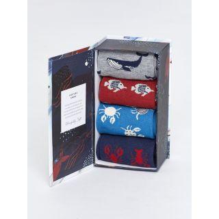Coffrets cadeaux bio 4 paires de chaussettes homme en bambou thème animaux marins