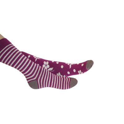 Chaussettes violettes rayée et fleurs pour femme