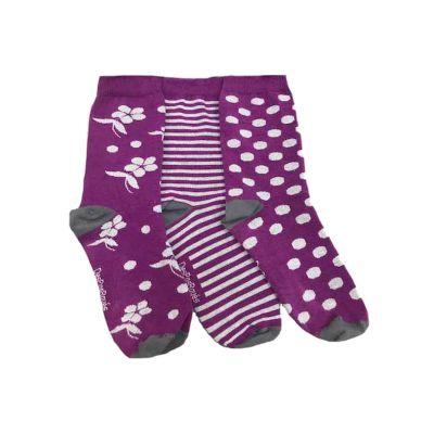 Chaussettes violettes femme fleurs et rayures