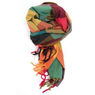 Étole, cheche foulard aux vives couleurs rouge jaune et verte