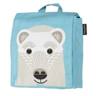 Sac à dos écologique pour la maternelle bleu clair avec imprimé ours blanc