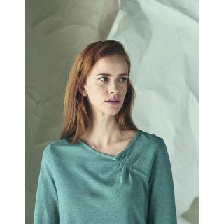 Haut manches longues femme chanvre et coton bio bleu