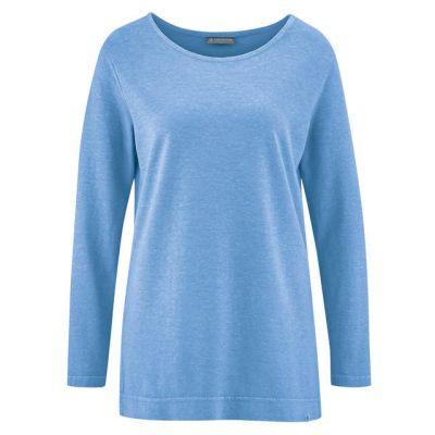 Tee shirt uni manches longues chanvre et coton bio bleu clair