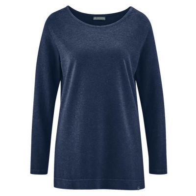 Tee shirt uni manches longues chanvre et coton bio bleu marine