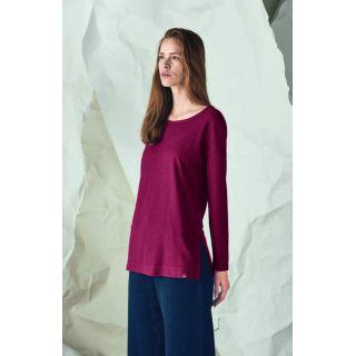 Tee shirt uni manches longues femme chanvre et coton bio