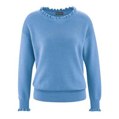 Pull bleu clair col tricoté aux manches et encolures chanvre et coton bio