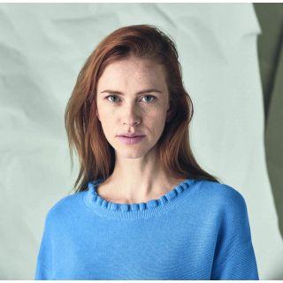 Pull femme uni bleu chanvre et coton bio