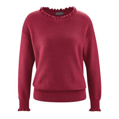 Pull bio pour femme rouge chanvre et coton bio