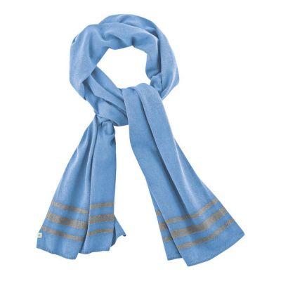 Écharpe avec rayures en chanvre et coton bio bleu clair