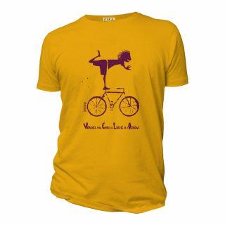 T-shirt homme coton bio bleu jaune Vélo