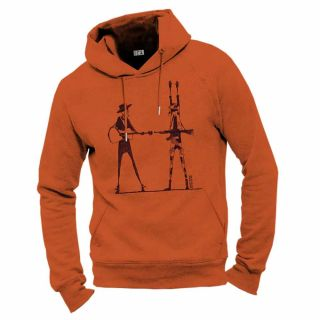 Sweat homme coton bio Haut les mains orange