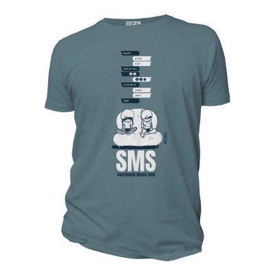 T-shirt bio 100% coton organic homme SMS bleu citadelle