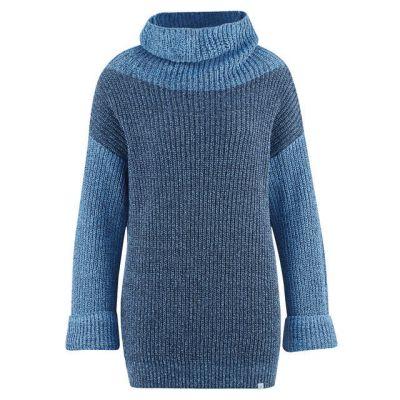 Gros pull col boule en chanvre et coton bio bleu et gris chiné