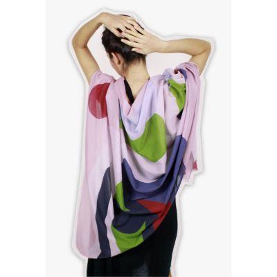 Écharpe femme coton bio motif contemporain L'Indienne rose