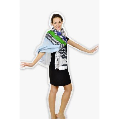 Écharpe femme coton bio motif contemporain