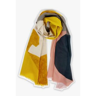 Écharpe coton bio motif contemporain Black sun jaune