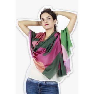Écharpe femme coton bio imprimé contemporain marguerite verte