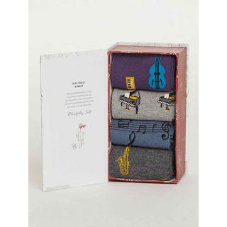 Coffrets cadeaux bio 4 paires de chaussettes homme en bambou thème Mélodies