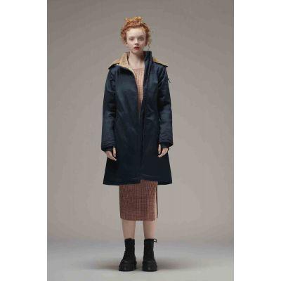 Manteau parka long bleu nuit en chanvre et coton bio