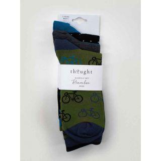 Pack 3 paires de chaussettes homme vélo et rayures vertes et noires